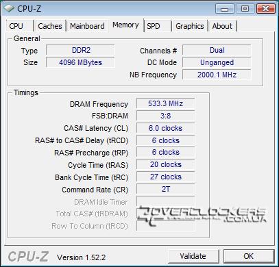 DDR2-1066 с задержками 6-6-6-20, Unganged