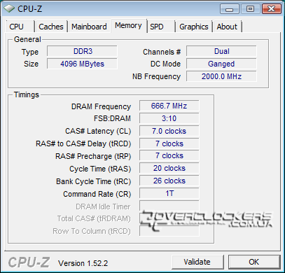 DDR3-1333 с задержками 7-7-7-20, Ganged