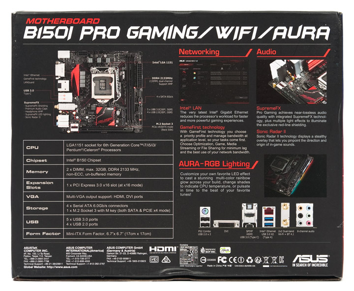 ASUS B150I Pro Gaming/Aura Realtek Audio Driver for Mac