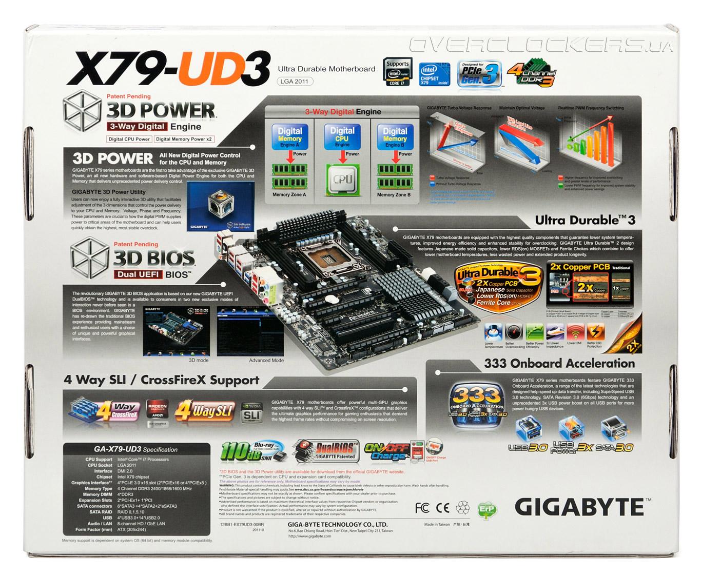 Материнская плата M/B GigaByte GA-X79-UD3 rev1.0 (RTL) LGA2011 X79 4xPCI-E+GbLAN SATA RAID ATX 4DDR-III.