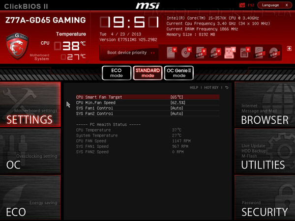 UEFI Setup MSI Z77A-GD65 Gaming
