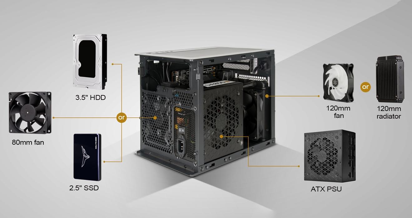 Корпус SilverStone Sugo 16 подходит для плат Mini-DTX и Mini-ITX