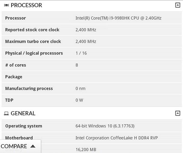 На подходе восьмиядерный Intel Core i9-9980HK для ноутбуков