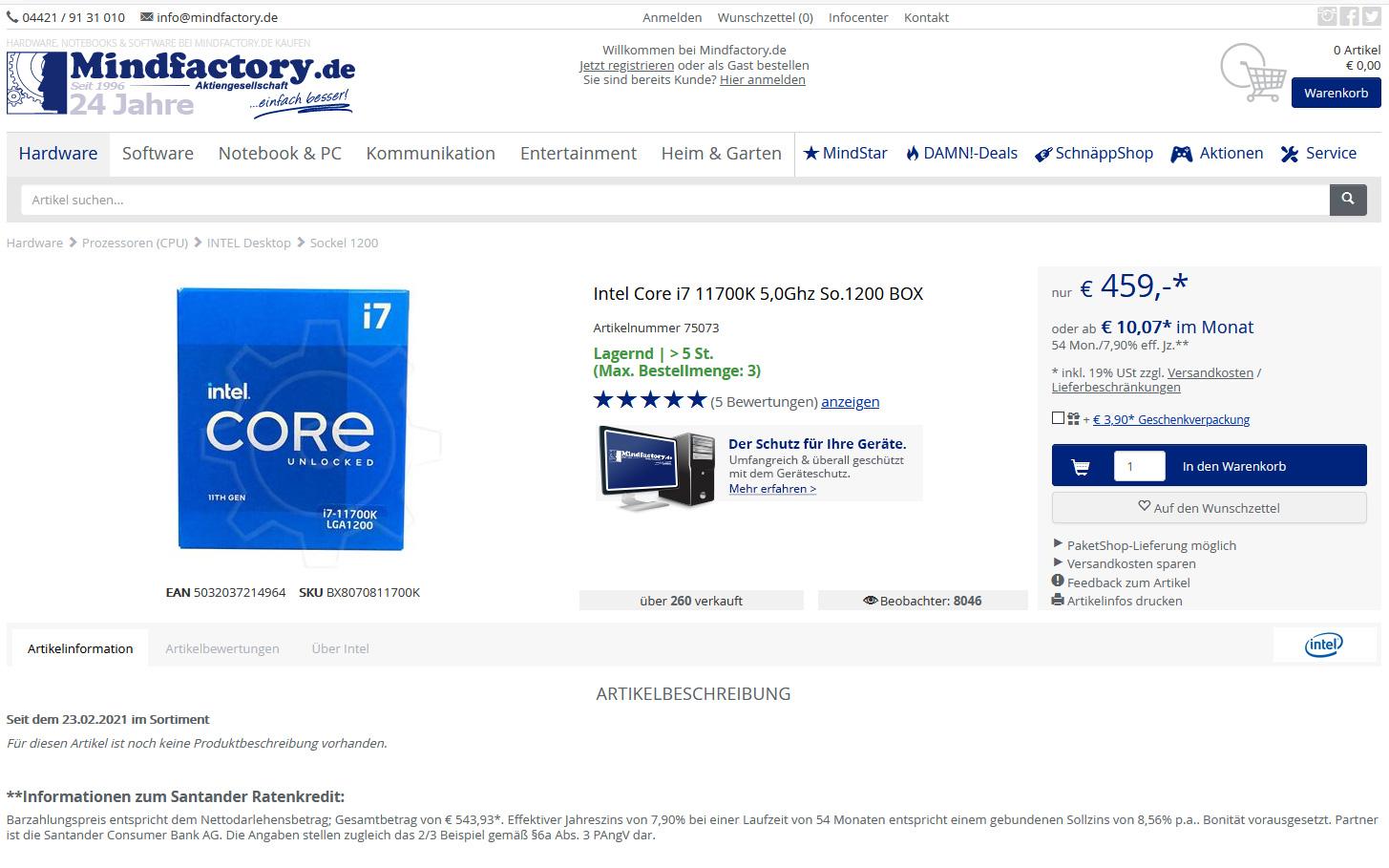 Intel Core i7-11700K опять замечен в свободной продаже