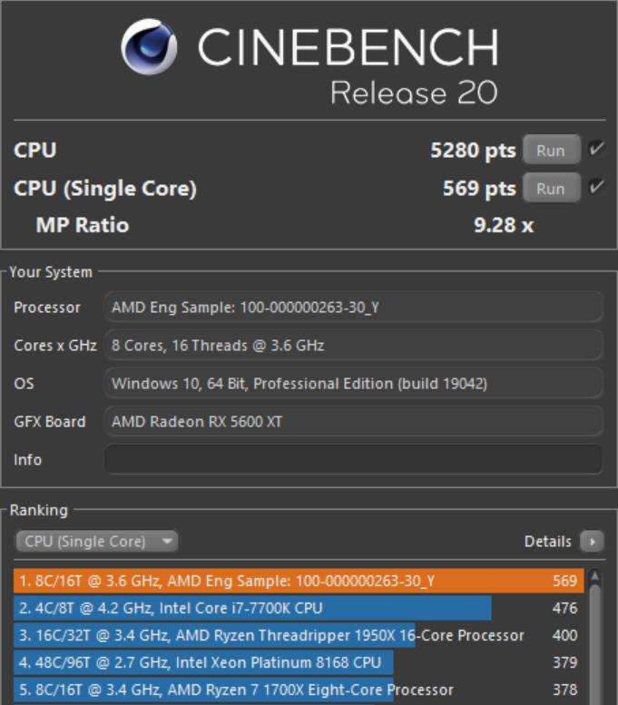 Новые тесты AMD Ryzen 7 5700G в бенчмарках CPU-Z и Cinebench