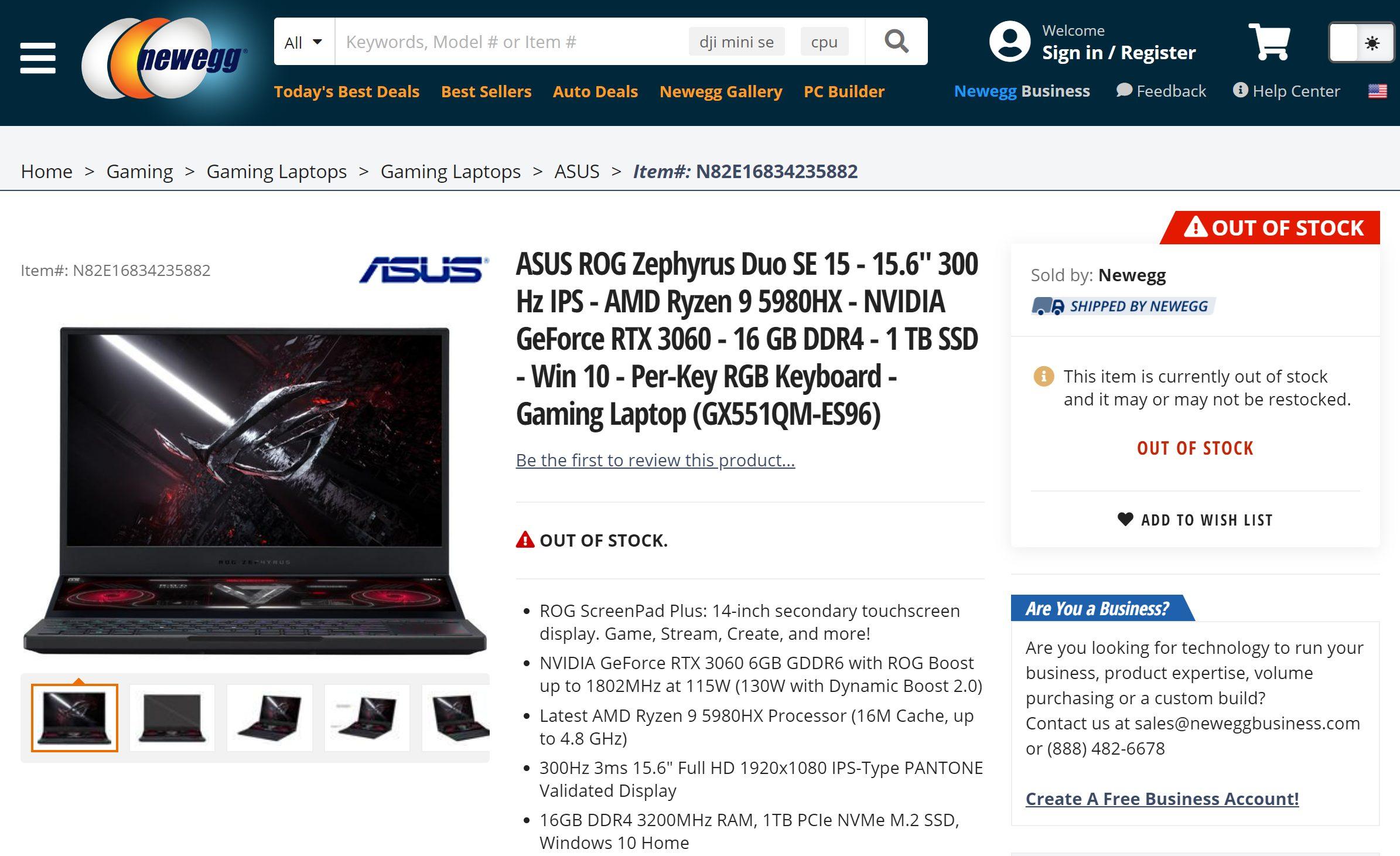 ASUS оснастила ноутбук ROG Zephyrus 15 Duo SE флагманским процессором AMD Ryzen 9 5980HX