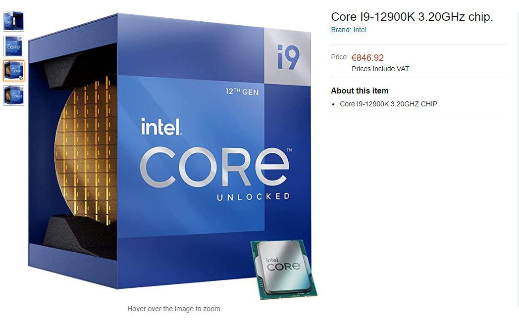 Amazon раскрыл европейские цены старших процессоров Intel Core 12-го поколения