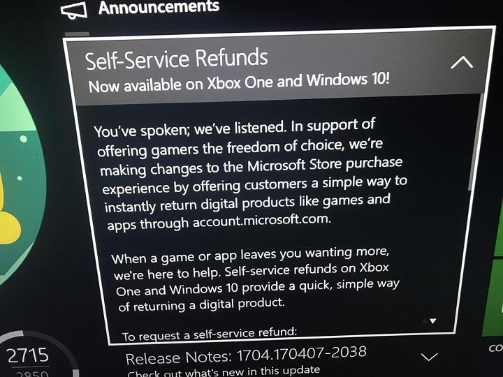 Компания Microsoft вводит моментальный возврат приобретенных игр