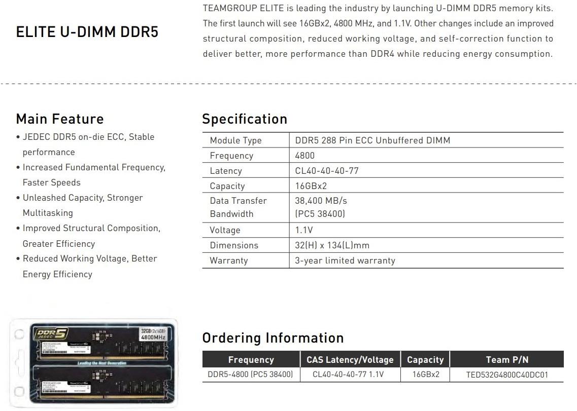Team Group выпустила 32-гигабайтный комплект памяти Elite DDR5-4800