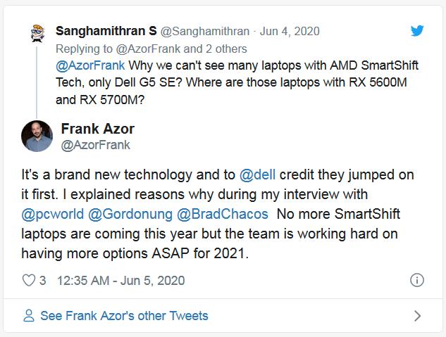Ноутбуки с технологией AMD SmartShift ожидаются в 2021 году