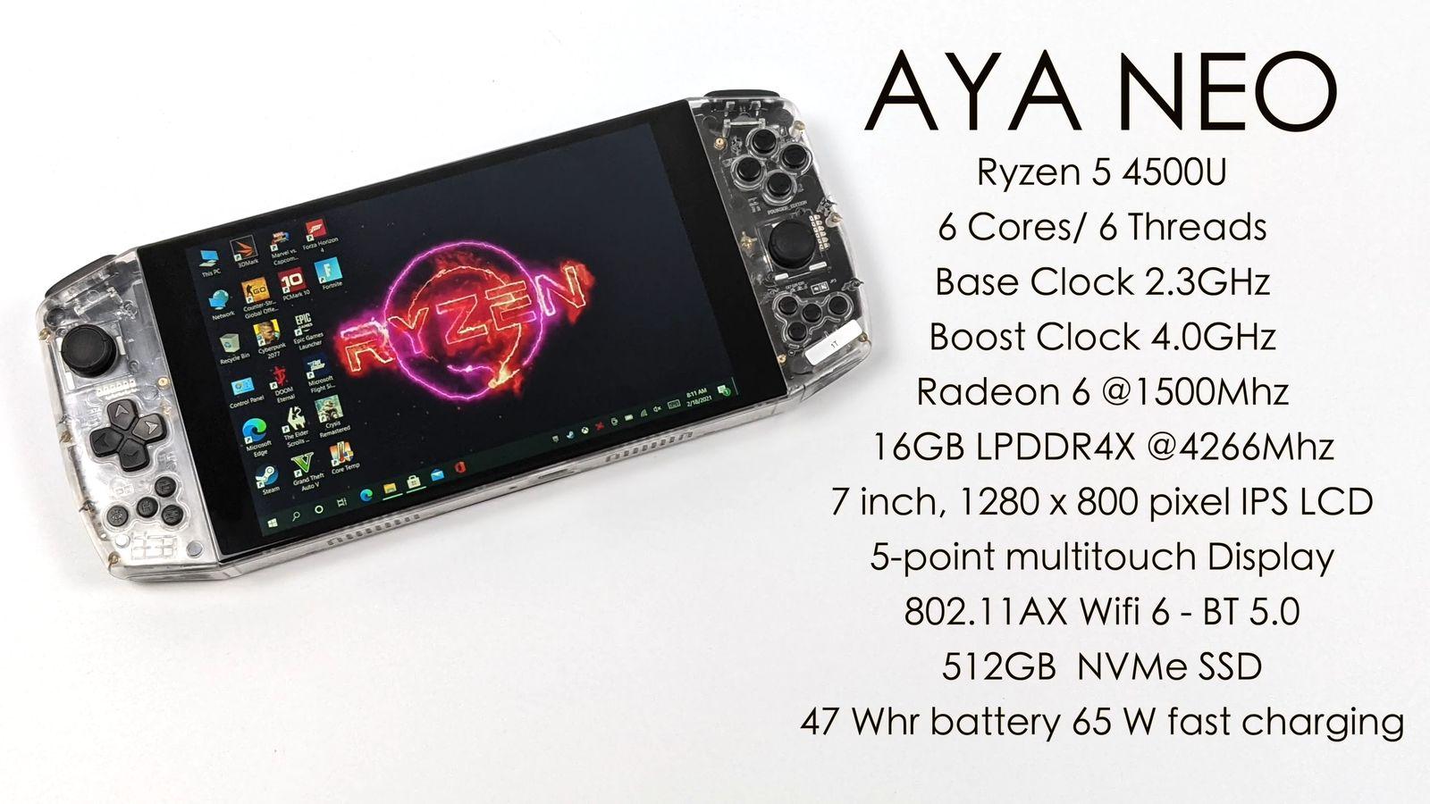 Портативная консоль Aya Neo на базе Ryzen 5 4500U вышла в Китае