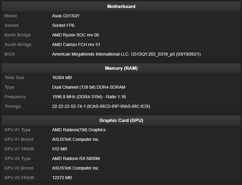 ASUS готовит игровой лэптоп на связке AMD Ryzen 9 5900HX и Radeon RX 6800M