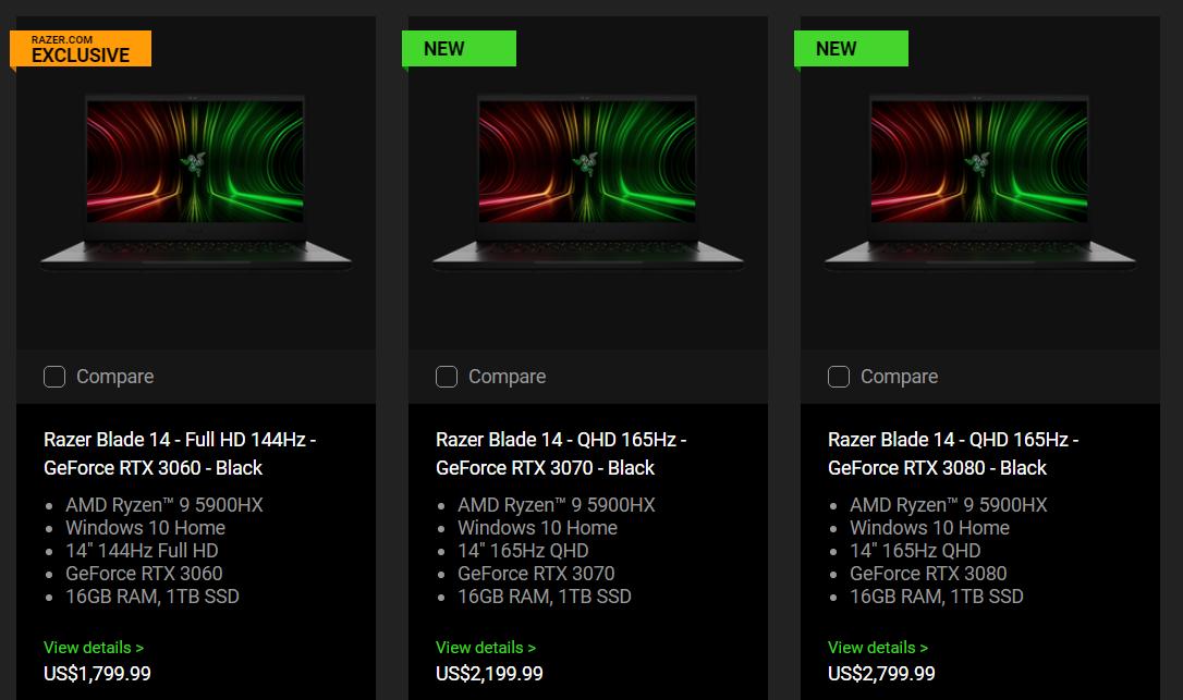 Обновлённый Razer Blade 14 сочетает процессор Ryzen 9 5900HX и графику GeForce RTX