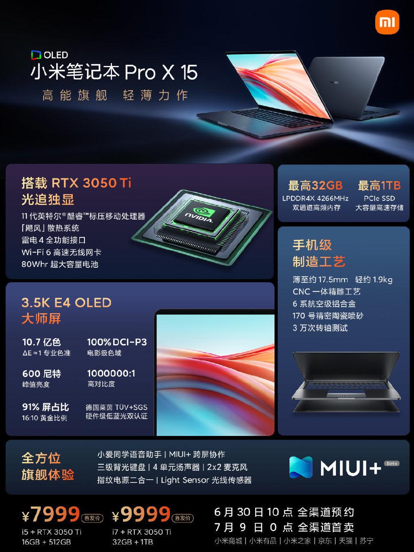 Xiaomi представила Mi Notebook Pro X 15 с GeForce RTX 3050 Ti и OLED-экраном