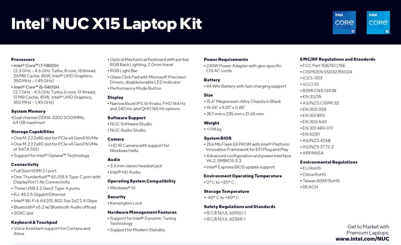 Intel выпустила эталонную платформу NUC X15 Laptop Kit для игровых ноутбуков