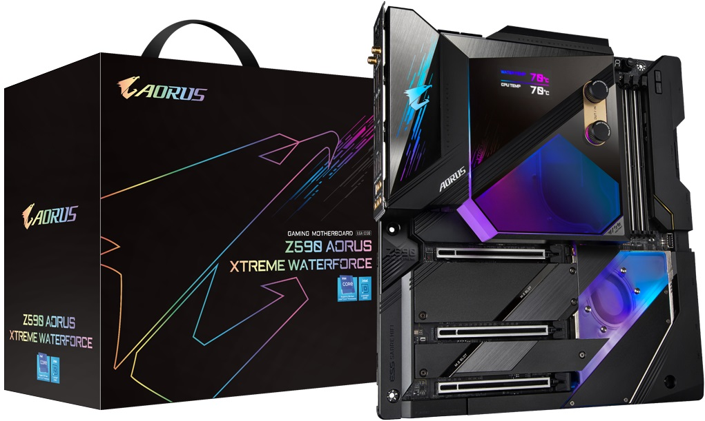Плата Gigabyte Z590 Aorus Xtreme WaterForce комплектуется водоблоком