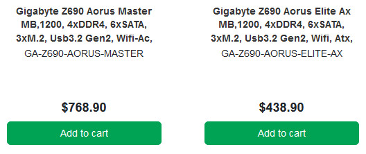 Стали известны цены плат Gigabyte Z690 Aorus Master и Elite AX для процессоров Intel LGA1700