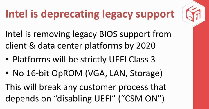 Intel откажется от Legacy BIOS в 2020 году