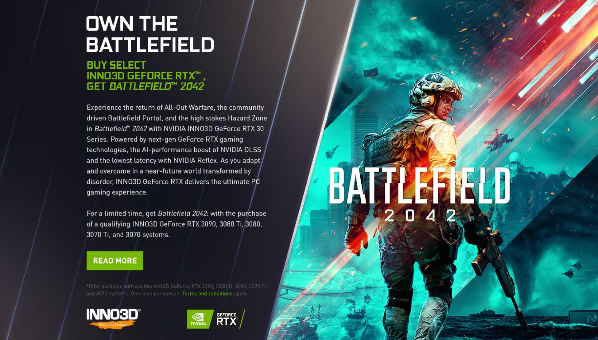Battlefield 2042 станет бесплатным для покупателей карт GeForce RTX 30-й серии