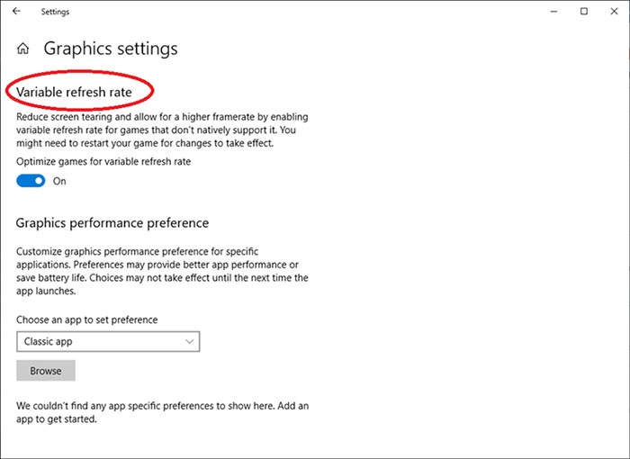 In Windows 10, the variable refresh rate feature / news