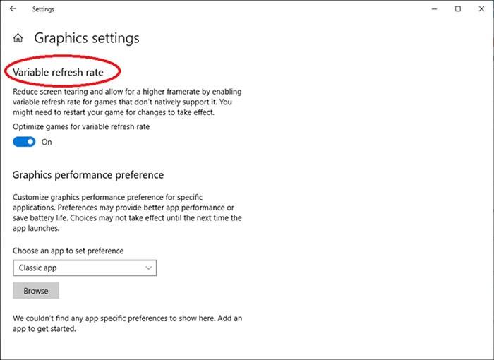 В Windows 10 появилась функция Variable Refresh Rate