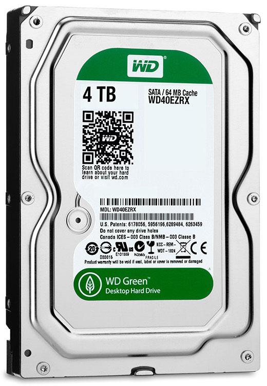 Western digital wd green hdd wd40ezrx 4tb 64mb cache sata 6gb/s 35 hard drive
