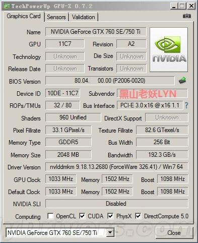 GeForce GTX 750 Ti - �������� GPU-Z