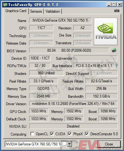 ��������� GeForce GTX 750 Ti - GPU-Z