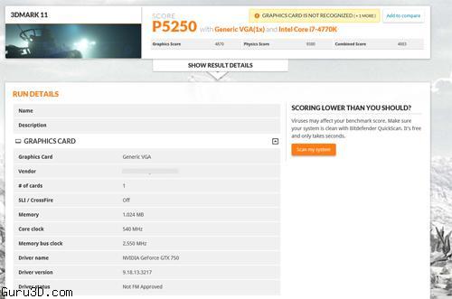 ��������� GeForce GTX 750 (GM107) - ���� 3DMark 11