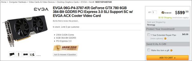���������� EVGA GeForce GTX 780 6GB Superclocked ACX