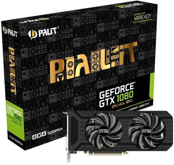 Представлена видеокарта Palit GeForce GTX 1080 Dual OC Edition