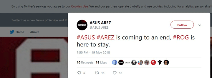 ASUS AREZ Twitter