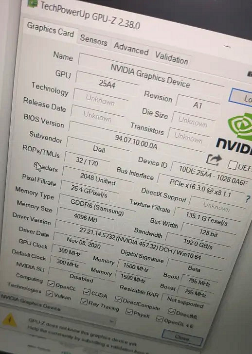 Скриншот GPU-Z подтвердил характеристики мобильной GeForce RTX 3050