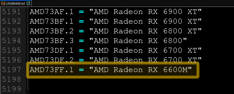 Мобильная видеокарта Radeon RX 6600M получит ядро AMD Navi 23 XM