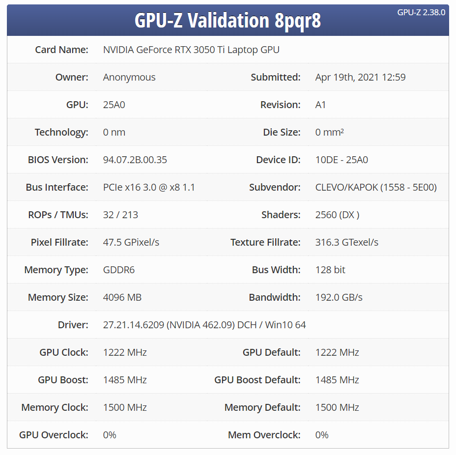 Мобильная GeForce RTX 3050 Ti прошла валидацию GPU-Z