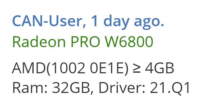 AMD Radeon Pro W6800 получила GPU Navi 21 и 32 ГБ видеопамяти