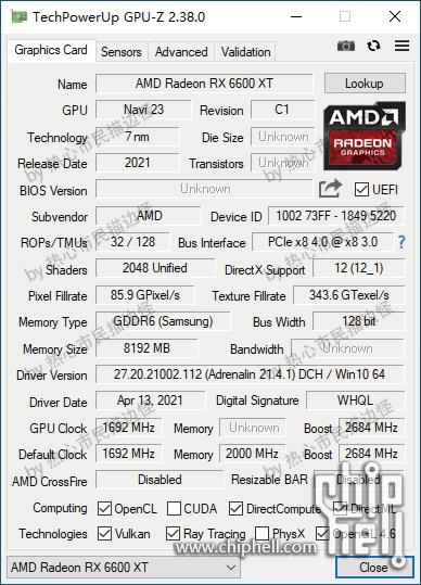 Характеристики Radeon RX 6600 (XT) подтверждены скриншотами GPU-Z