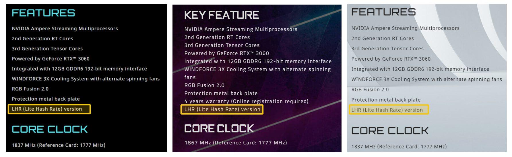 Видеокарты Gigabyte GeForce RTX 3060 обзавелись аппаратным ограничителем майнинга