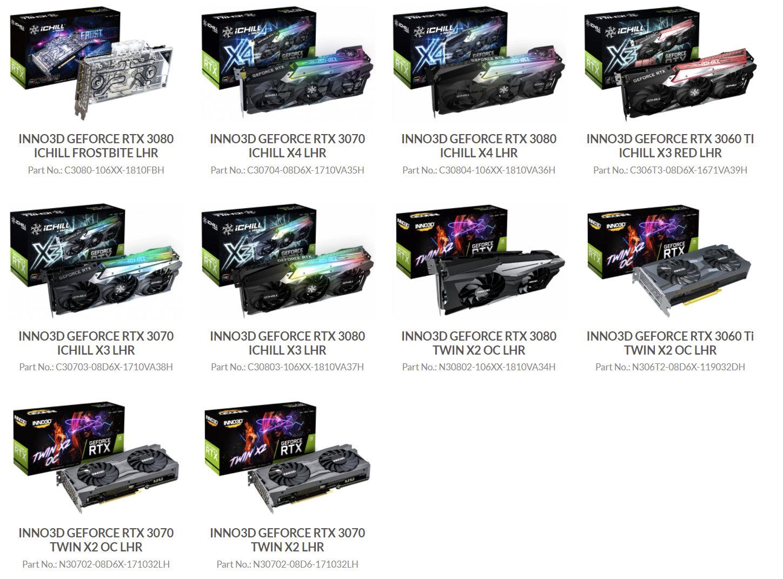 Inno3D выпускает карты GeForce RTX 3000 серии Lite Hash Rate