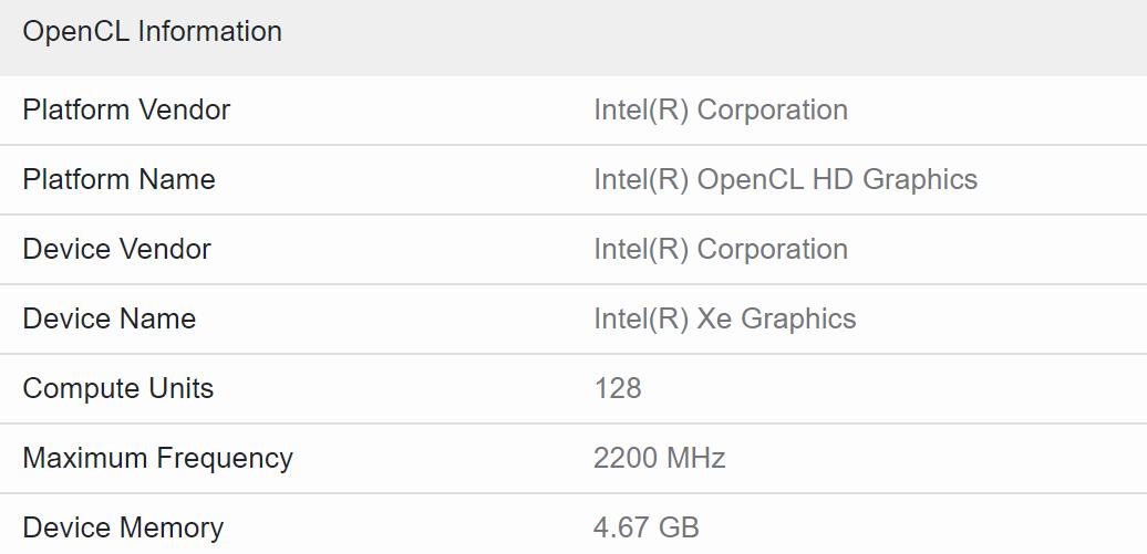 Видеокарта Intel DG2-128 на частоте 2,2 ГГц протестирована в Geekbench 5