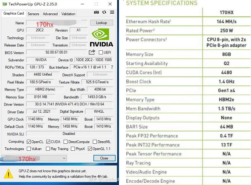 Видеокарта для майнинга Nvidia CMP 170HX добывает Ethereum на скорости 164 MH/s