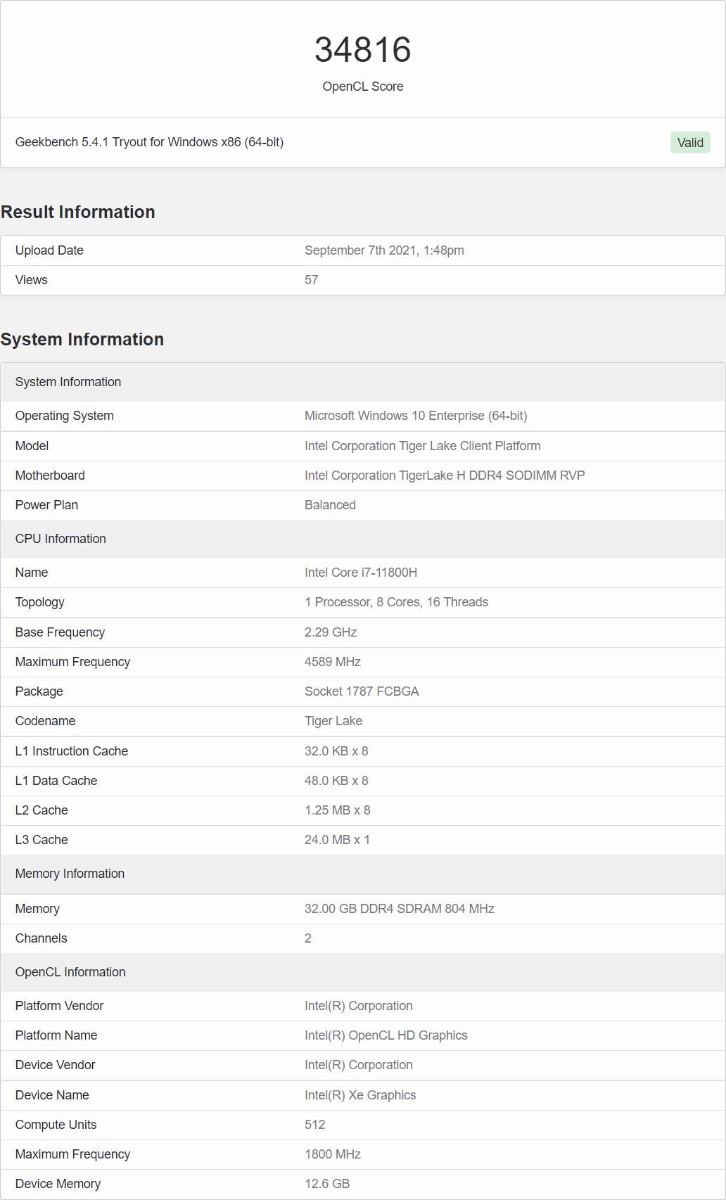 Мобильный видеоадаптер Intel Arc Alchemist с 512 блоками EU протестирован в Geekbench