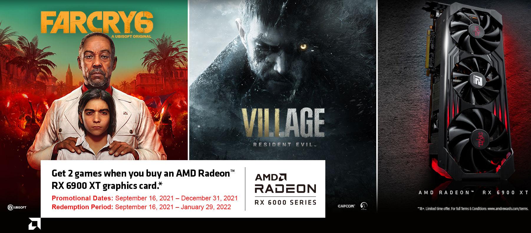 Far Cry 6 и Resident Evil Village станут бесплатными для покупателей Radeon RX 6900 XT