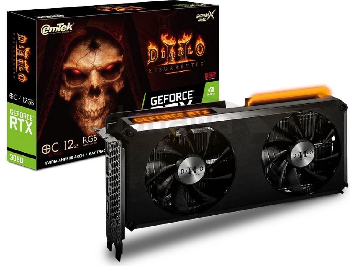 Emtek выпустит видеокарты GeForce RTX 3060 и RTX 3070 Ti в стиле Diablo II: Resurrected