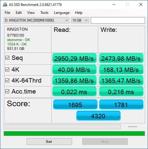 Kingston KC2500 NVMe PCIe SSD 1000GB (SKC2500M8/1000G)
