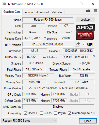 ASUS Radeon RX 550 4G (RX550-4G)