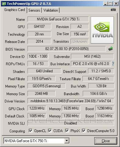 MSI N750Ti TF 2GD5/OC